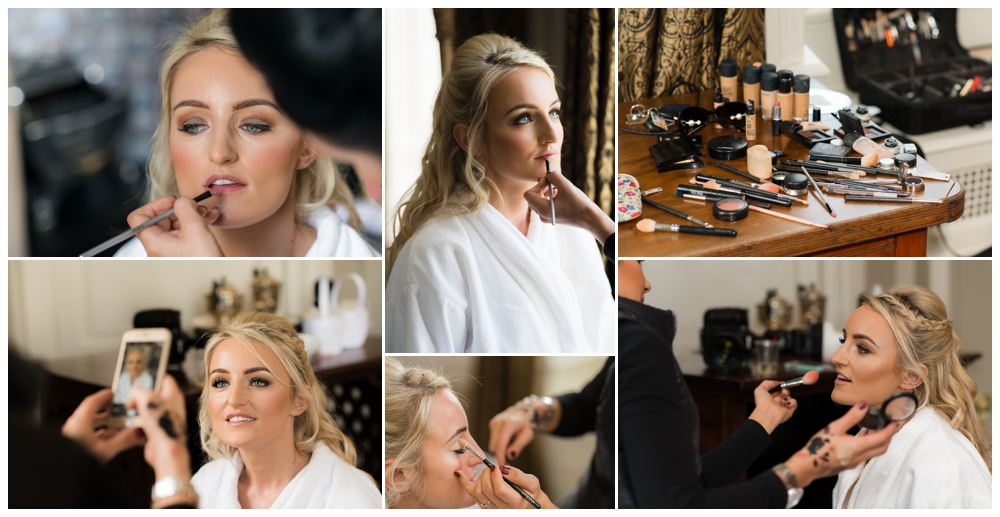 Beautiful bride with make up artist